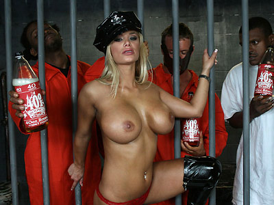Curvy blonde Shyla strips sucks and fucks in jail from 40oz Bounce