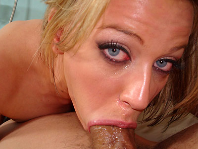 blonde practices deepthroating on sausage