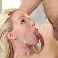 Hot Blonde Sammie Daniels Swallows Some Cream - Picture 3