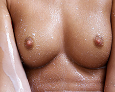 Thin Brunette Girl Sabrina Banks Gets Milk Bath - Picture 12