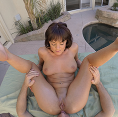 Sexy Teen Rahyndee James Sun Bathes Poolside - Picture 1